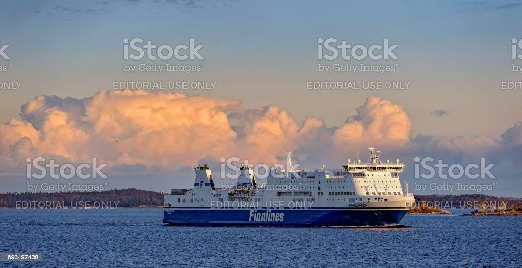 Ferry in Turku archipelago stock photo