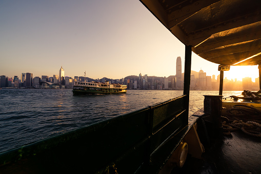 Ferry in Victoria harbor in Hong Kong city