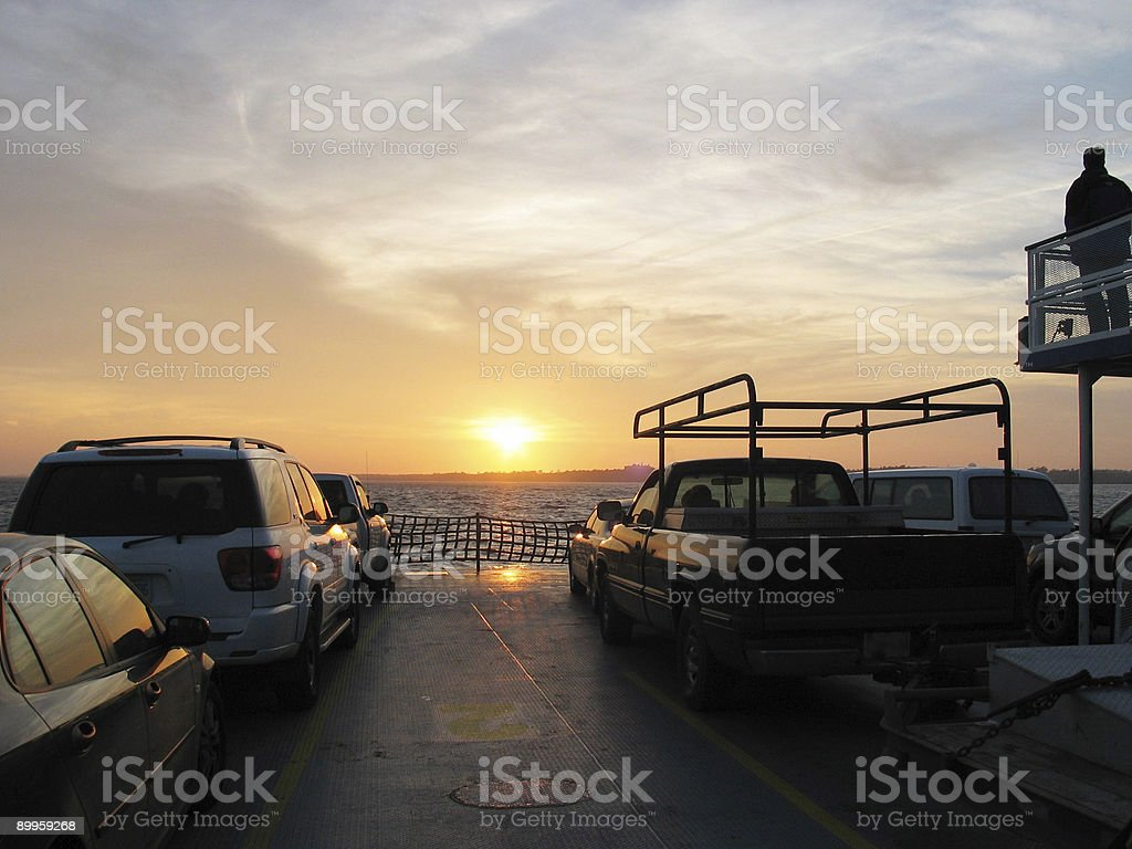 ferry into the sunset stock photo