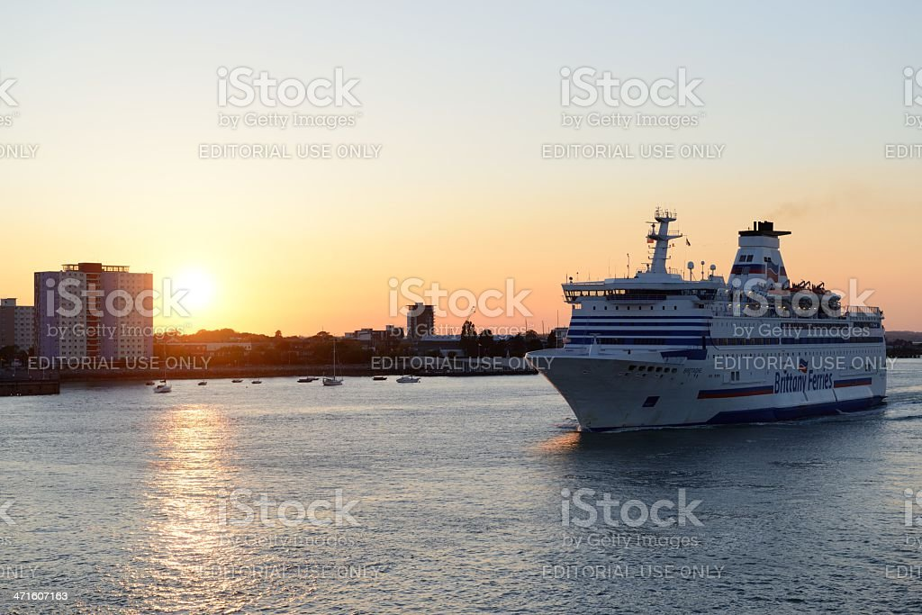 Ferry leaving Portsmouth royalty-free stock photo