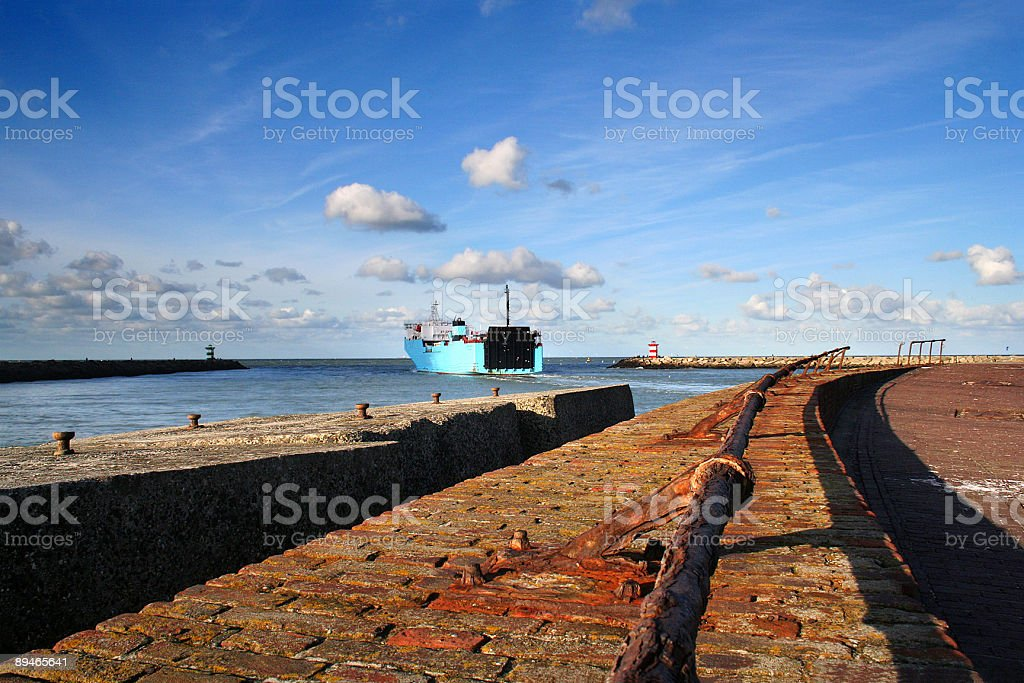 Ferry leaving the harbour royalty-free stock photo