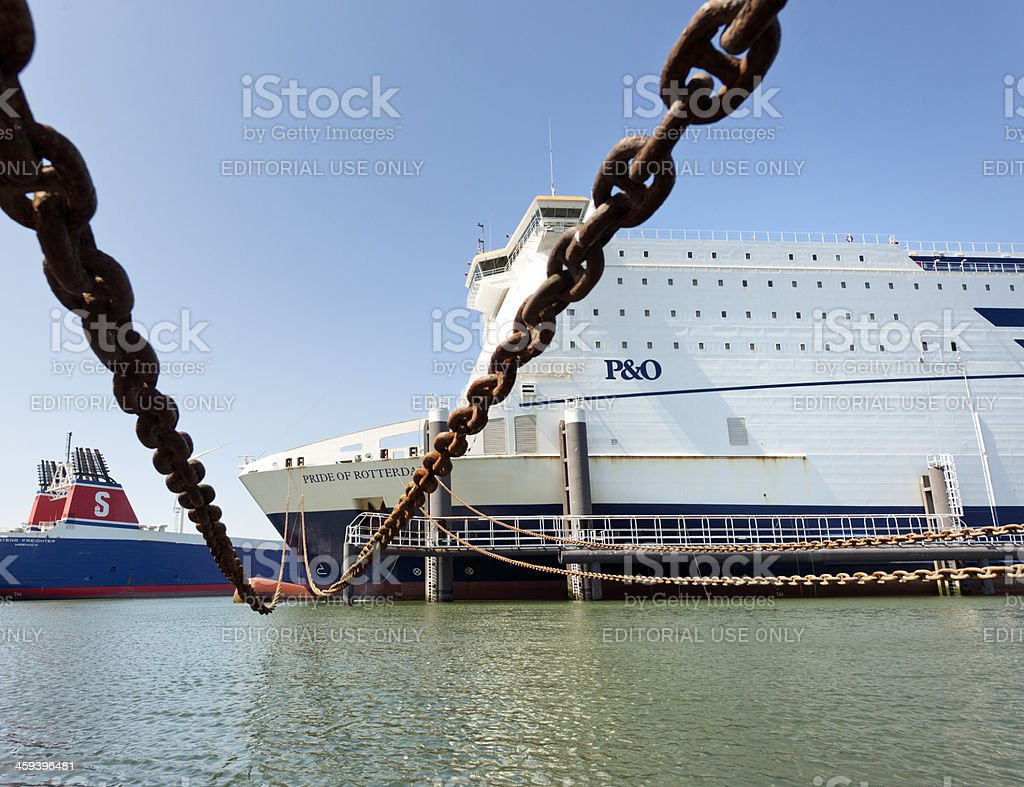 ferry moored in harbor royalty-free stock photo