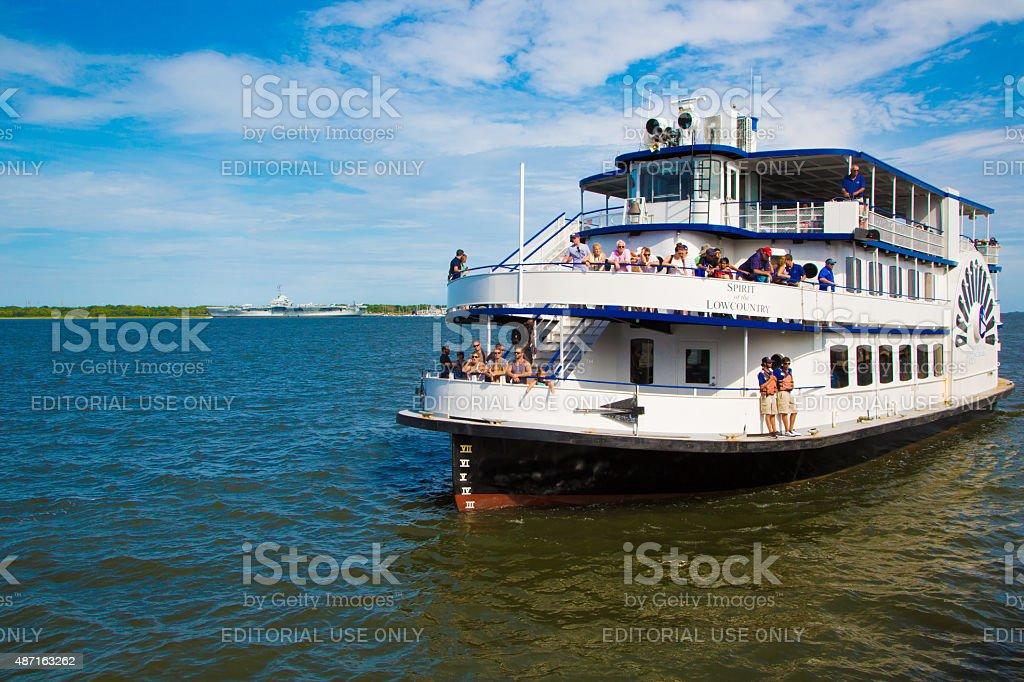 Ferry on Cooper river, Charleston, South Carolina stock photo