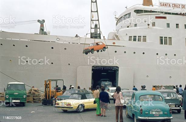 Ferry on Gran Canaria loads cars in the hull