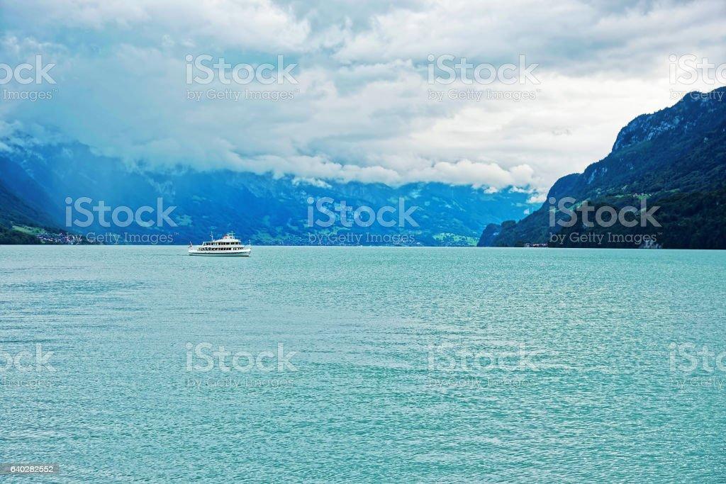 Ferry on Lake Brienz and Brienzer Rothorn mountain Bern Swiss stock photo