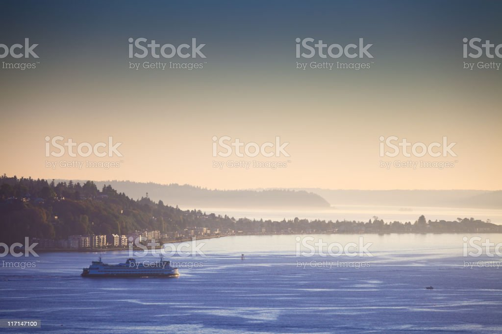 Ferry on Puget Sound stock photo
