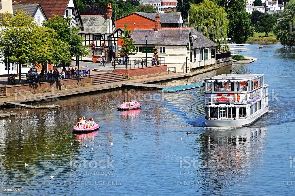 Ferry on River Dee, Chester. stock photo