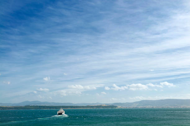 Ferry on the Dardanelles between Eceabat and Canakkale. stock photo