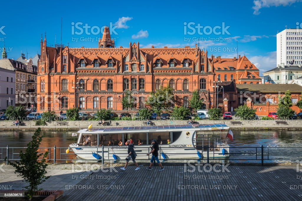 Ferry on the River Brda in Bydgoszcz stock photo