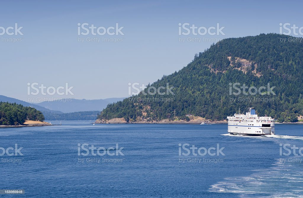 Ferry passes through Southern Gulf Islands stock photo