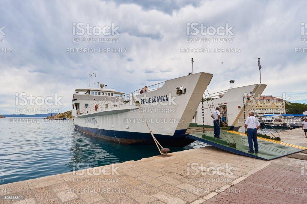 Ferry Peljescanka in port Makarska stock photo
