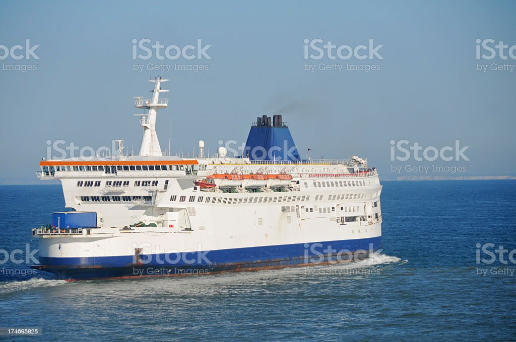Ferry sailing between Calais and Dover royalty-free stock photo