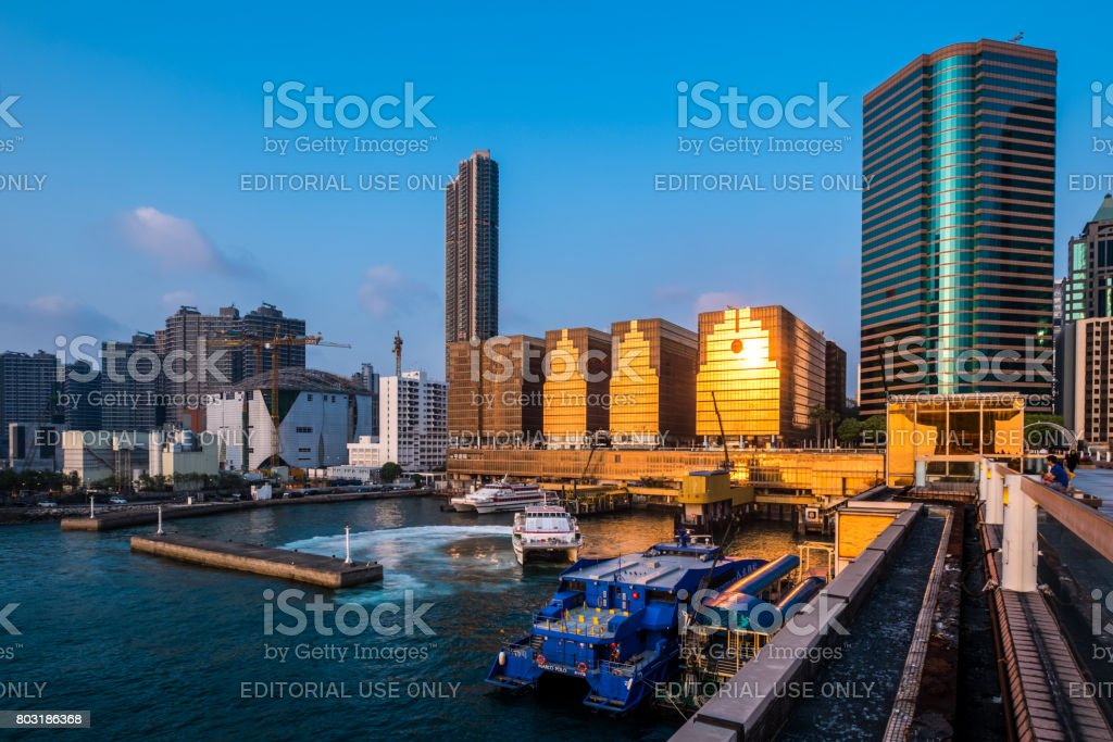 Ferry services from China Ferry Terminal offer convenient and comfortable travel to Hong Kong's neighboring cities including Macau and other areas in China, such as Zhuhai, Zhongshan, Shunde and Panyu. stock photo