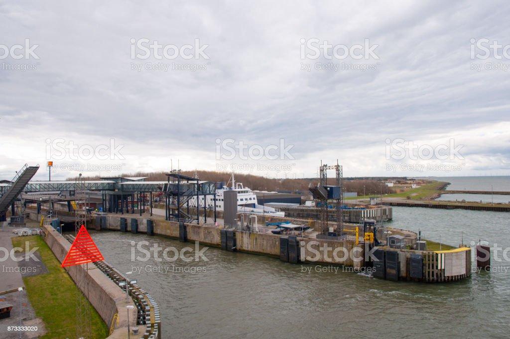 Ferry slip in Rodbyhavn in Denmark stock photo