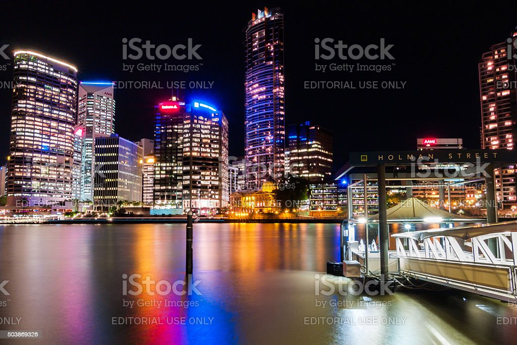 Ferry station and Brisbane skyline in Australia stock photo