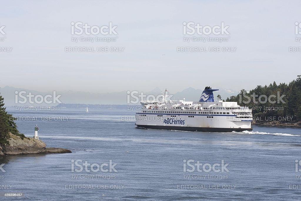 BC Ferry, Strait of Georgia, British Columbia, Canada in Autumn stock photo