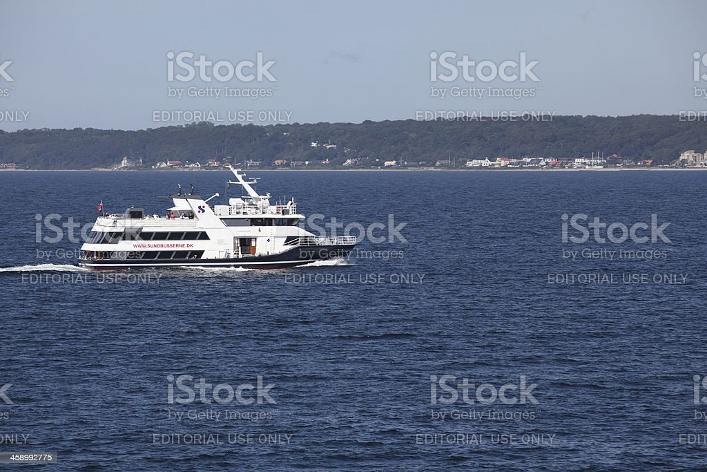 Ferry Sundbusserne between Denmark and Sweden stock photo