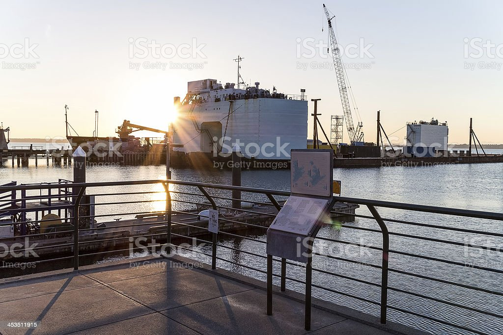 ferry terminal at sunset stock photo