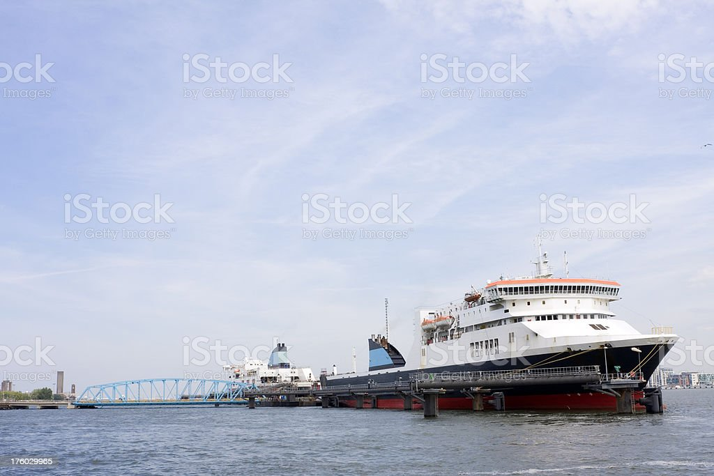 Ferry terminal, two ships royalty-free stock photo