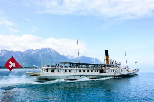 Ferry that crosses Lake Geneva between Switzerland and France