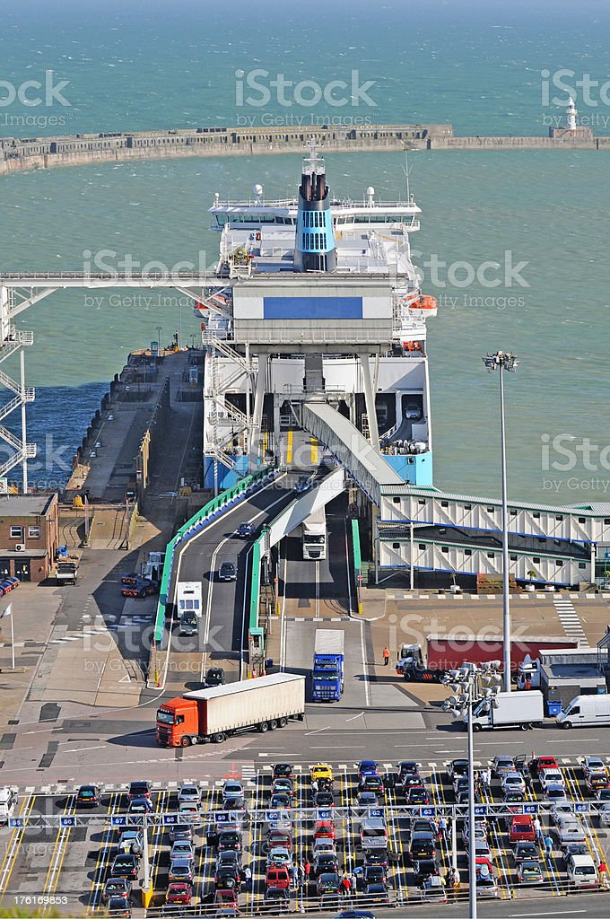 Ferry Unloading stock photo
