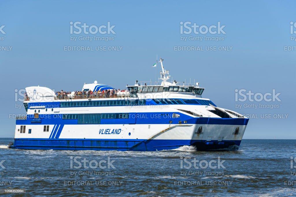 Ferry MS Vlieland sailing between Harlingen and the island Vlieland stock photo