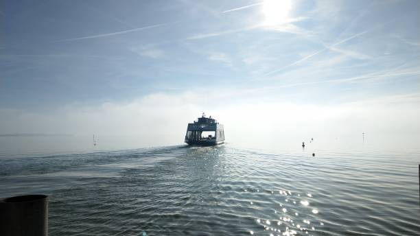Ferryboat on Bodensee lake A ferryboat on a sunny winter morning Bodensee stock pictures, royalty-free photos & images