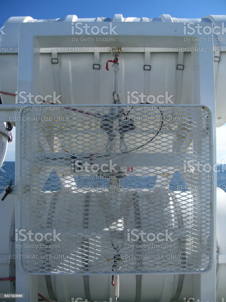Ferryboat: Throw-overboard liferafts on the upper deck of a ferryboat stock photo