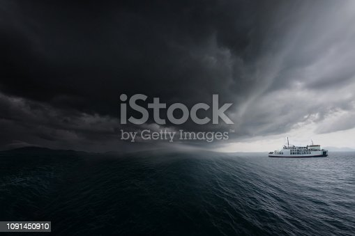 Ferryboat track leaving the port during Tropical storm.
