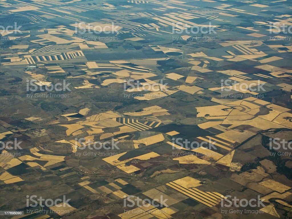Fertile Fields in Queensland AU Viewed From Above stock photo