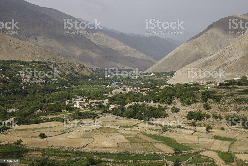 Fertile fields of Panjshir valley in Afghanistan stock photo