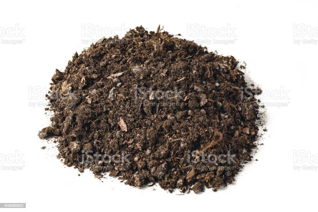 Fertile garden soil texture background top view isolated on white stock photo
