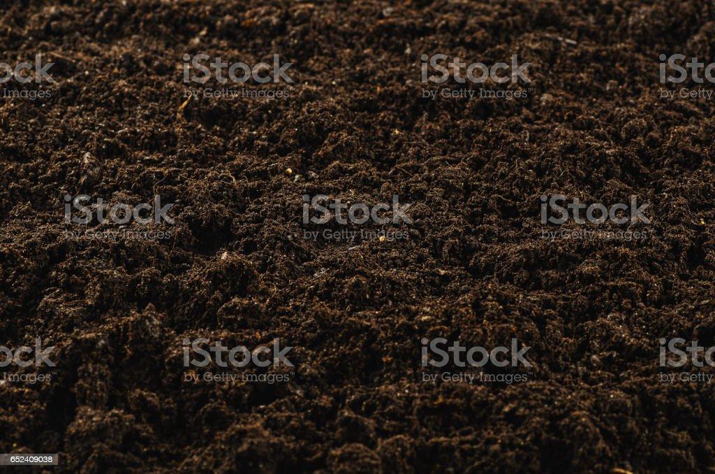 Fertile garden soil texture background top view stock photo