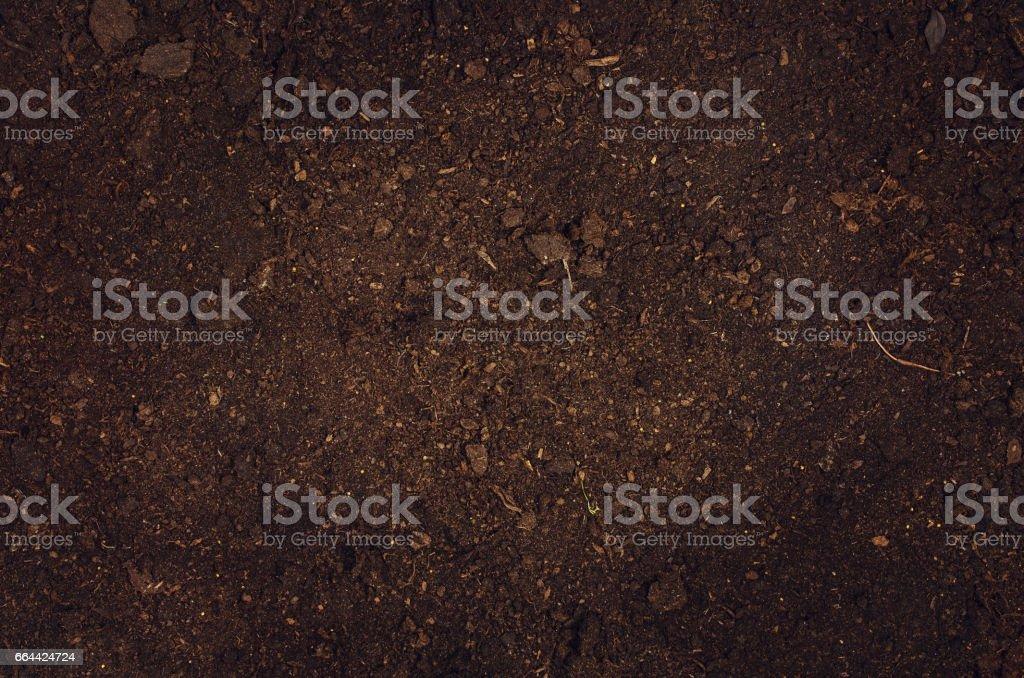 Fertile garden soil texture background top view - foto stock