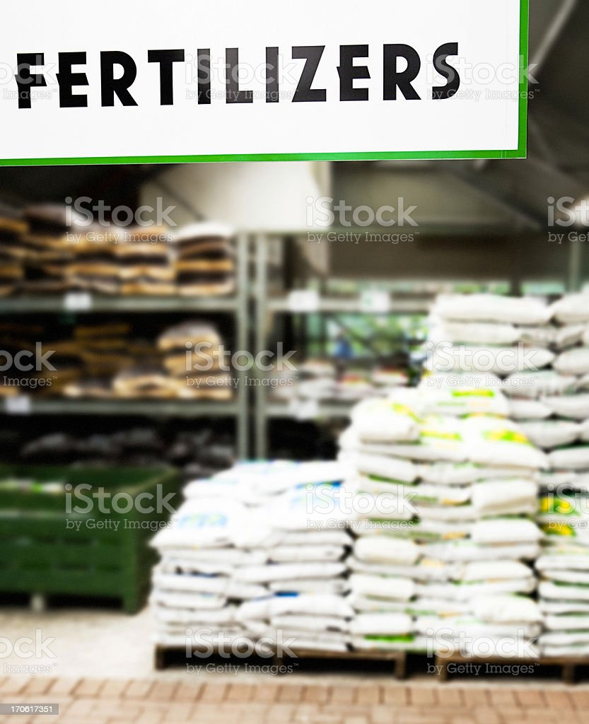 Fertilizers at garden center stock photo