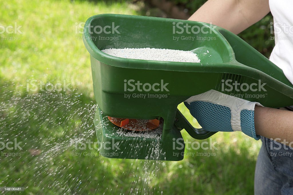 Fertilizing Lawn stock photo