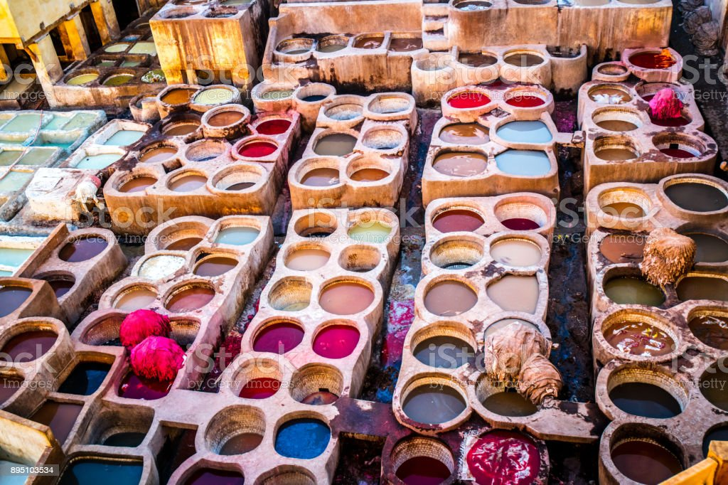 Fes leather dyeing factory stock photo
