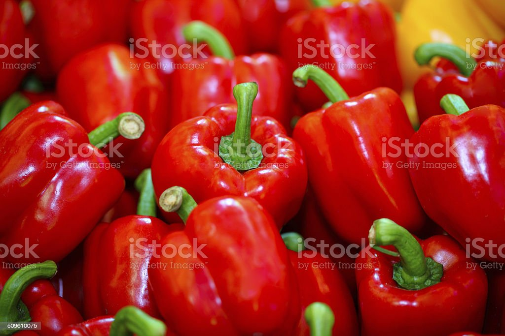 Fesh red bell pepper (capsicum) background stock photo