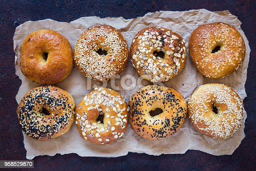Bagels on rusty background.