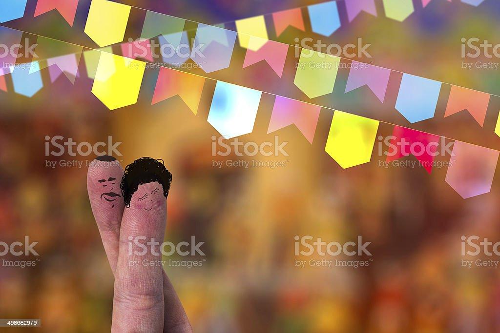 Festa Junina Festa com um adorável dedo casal - foto de acervo