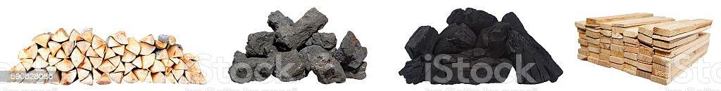 Festbrennstoffe, Buchenholz, Steinkohle, Holzkohle und Fichtenholz stock photo