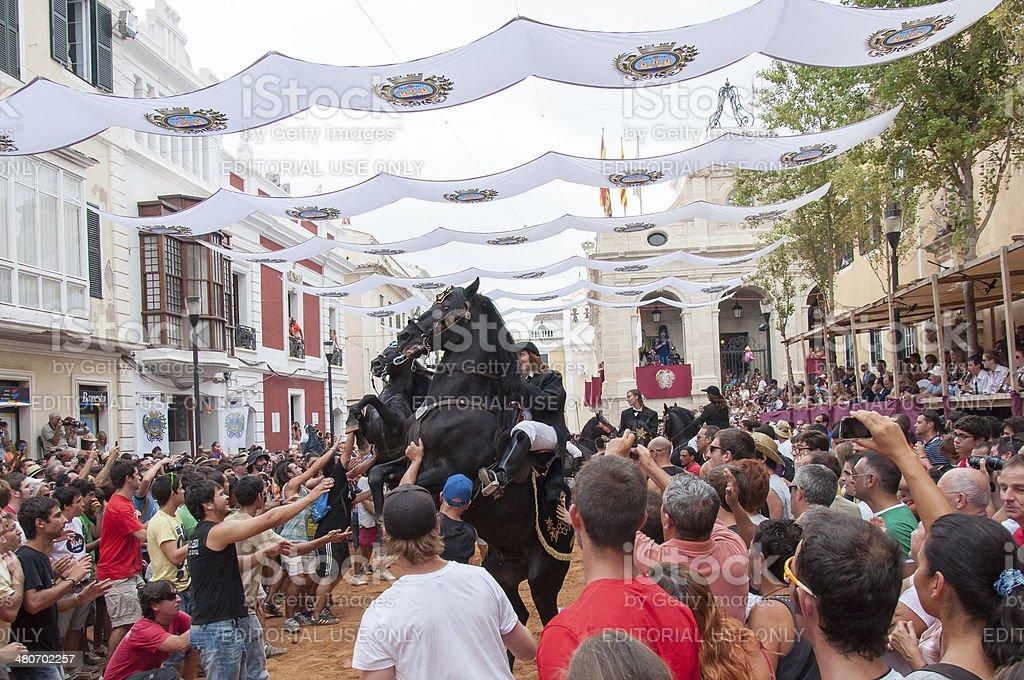 Festes de Gracia, City On Mahon, Menorca Island, Spain stock photo