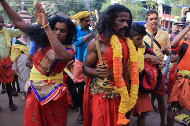 Festival at the ancient temple of Kodungallur, Kerala, India stock photo