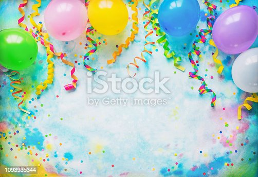 istock Festival, carnival or birthday party frame with balloons, streamers and confetti 1093935344