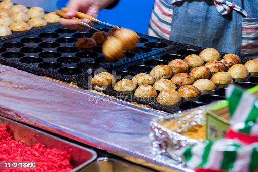 Takoyaki is a popular food at festival stalls.