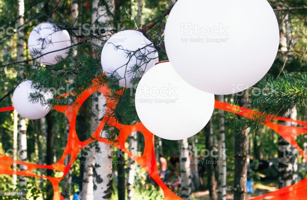 Festival Decorations In The Summer Forest stock photo