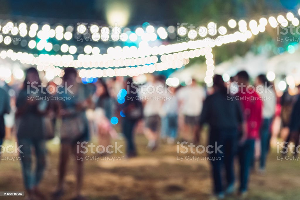 Festival Event Party Hipster People Blurred Background stock photo