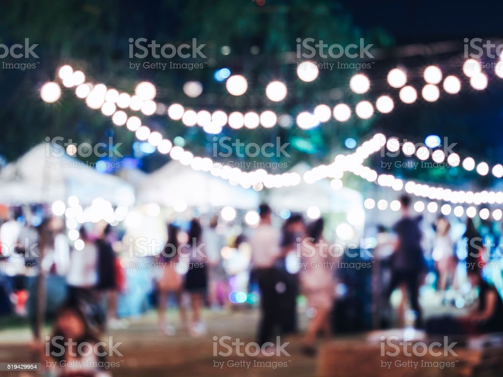 Festival Event Party with Blurred People Crowd Background stock photo