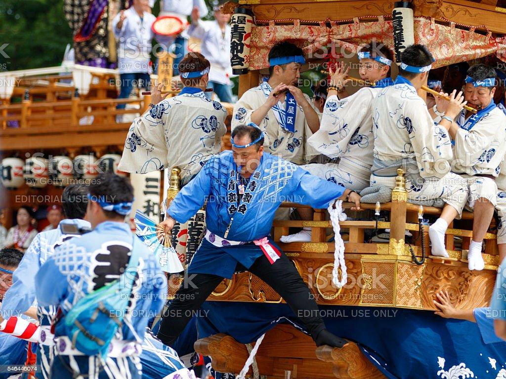 Festival float parading in main square at Narita Gion Festival stock photo