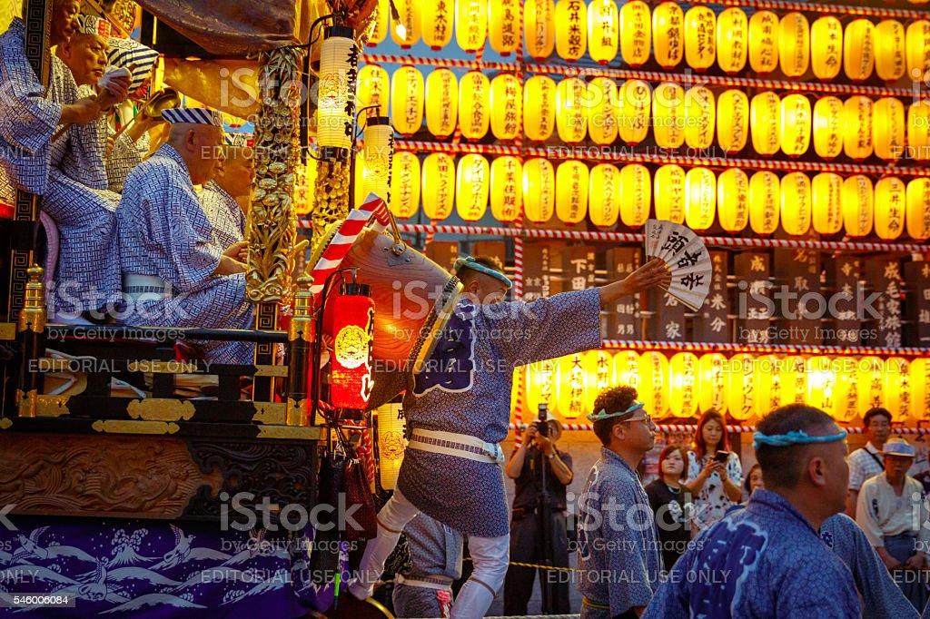 Festival float parading on main street stock photo